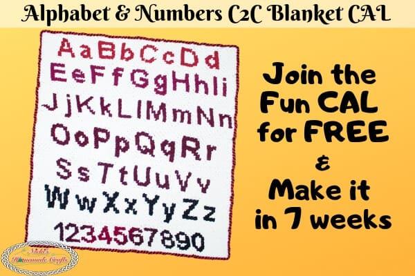 Alphabet & Numbers C2C Blanket - Free Pattern - Crochet Along