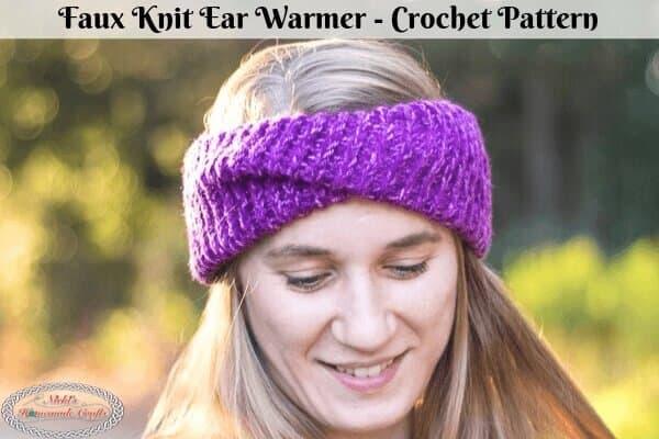 Faux Knit Ear Warmer Crochet Pattern Free