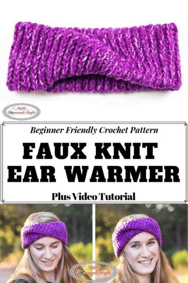 Faux Knit Ear Warmer Free Crochet Pattern