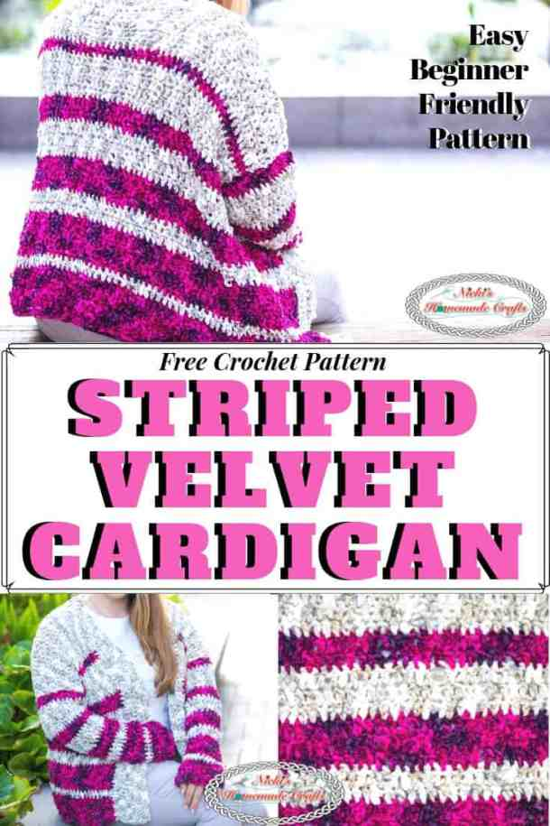 Striped Cardigan crocheted with Velvet Yarn - Free Pattern