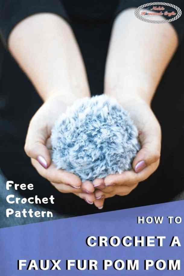 Crochet Faux Fur Pom Pom - Free Pattern