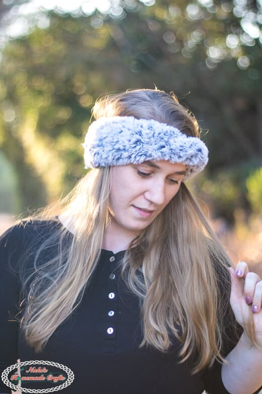 Faux Fur Ear Warmers - Free Crochet Pattern finished