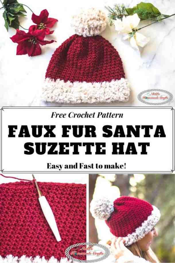 Faux Fur Santa Suzette Hat Crochet Pattern