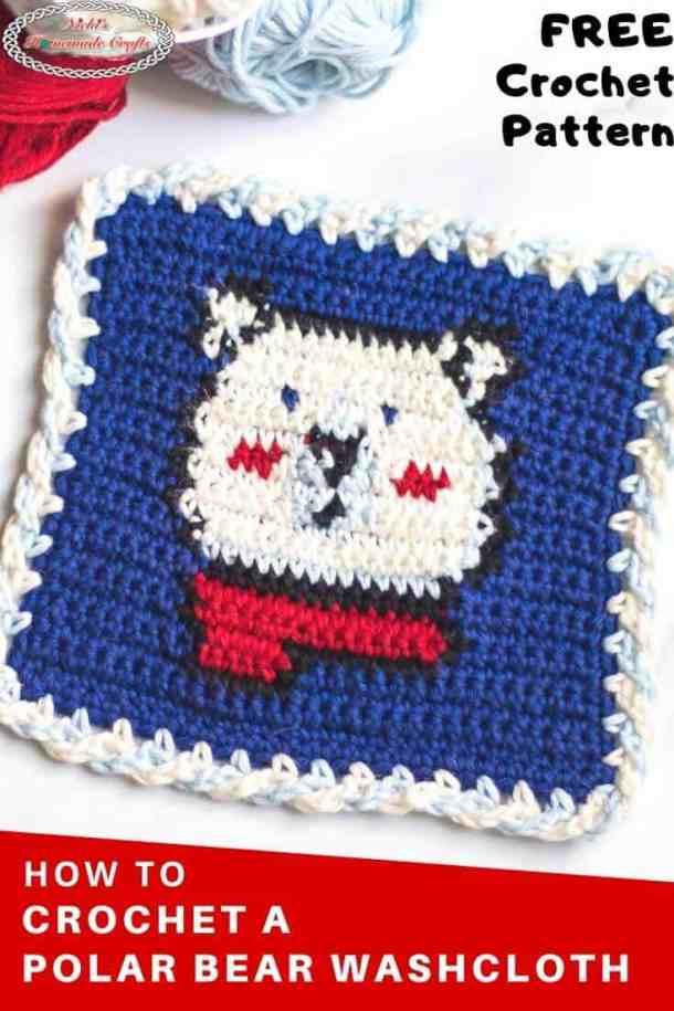 Polar Bear Washcloth - Free Tapestry Crochet Pattern