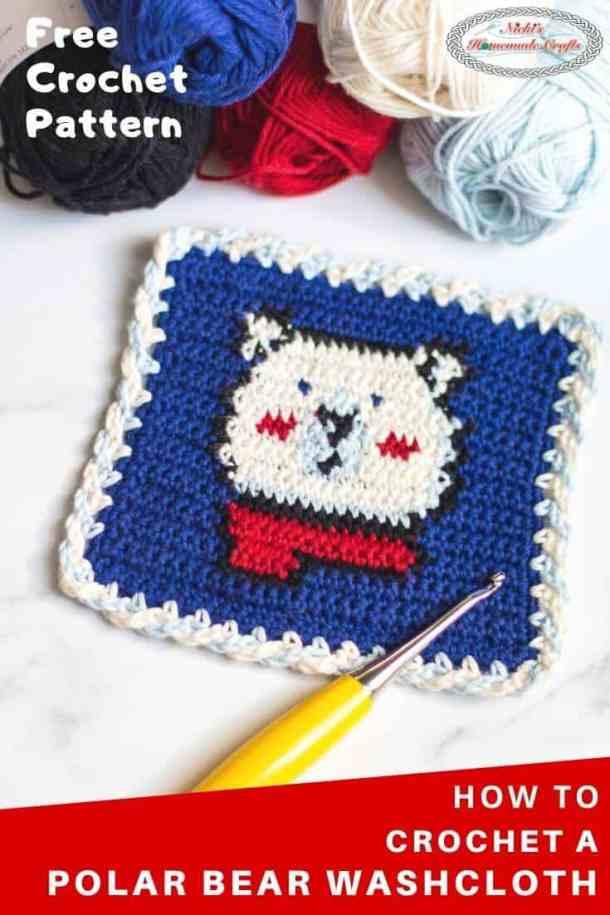 Polar Bear Washcloth Tapestry Free Crochet Pattern