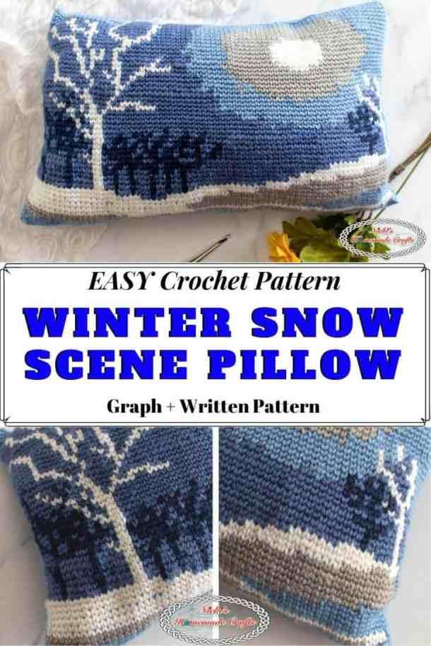 Winter Snow Scene Pillow