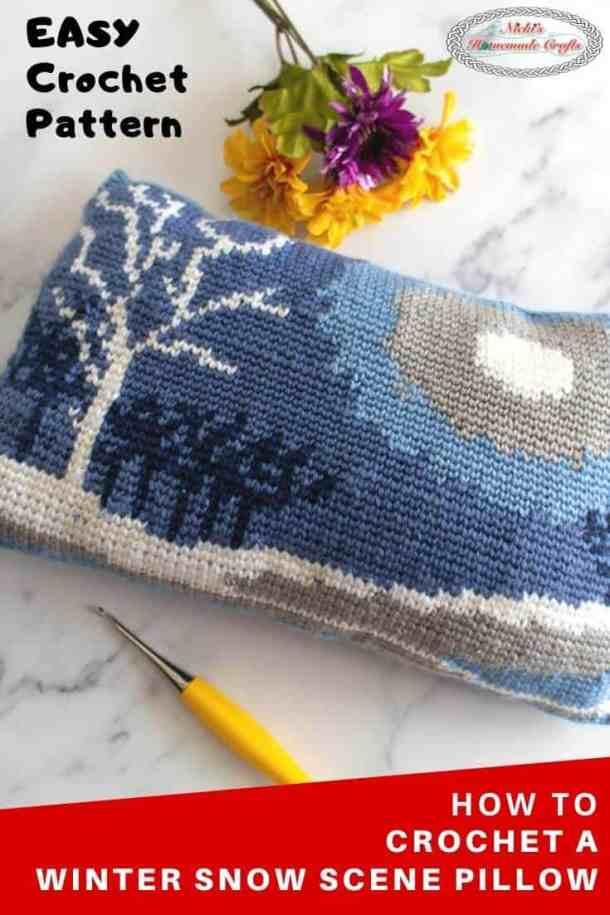 Winter Snow Scene Pillow Crochet Pattern