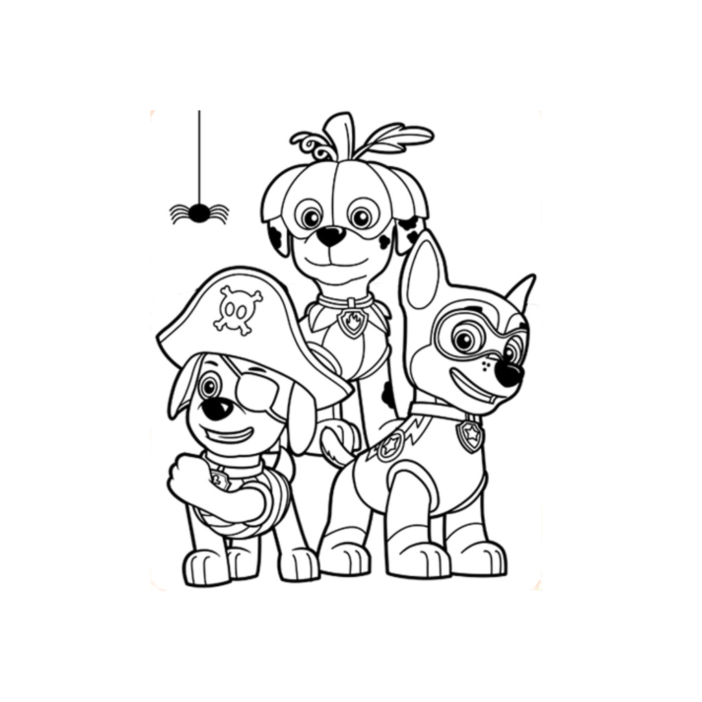 Paw Patrol Halloween Colouring Pages For Preschoolers