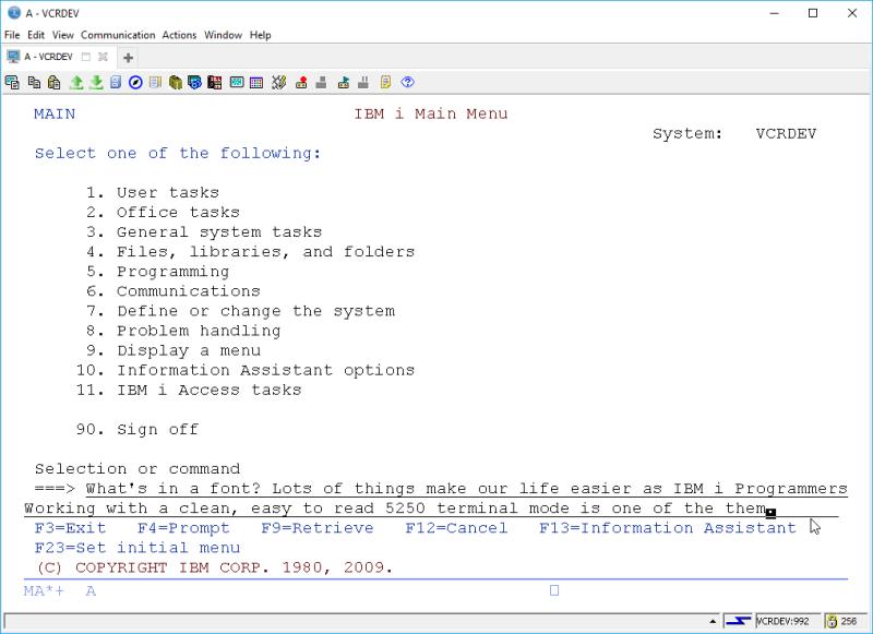 IBM i ACS 5250 EMULATOR FONT - and other ridiculous mumbo jumbo 5