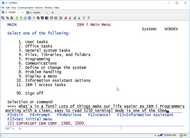 IBM i ACS 5250 EMULATOR FONT - and other ridiculous mumbo jumbo 8