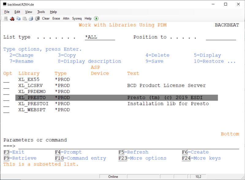 How to rename Fresche (BCD) Presto Library - XL_PRESTO 5