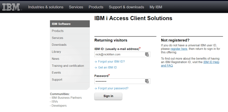 log in to IBM