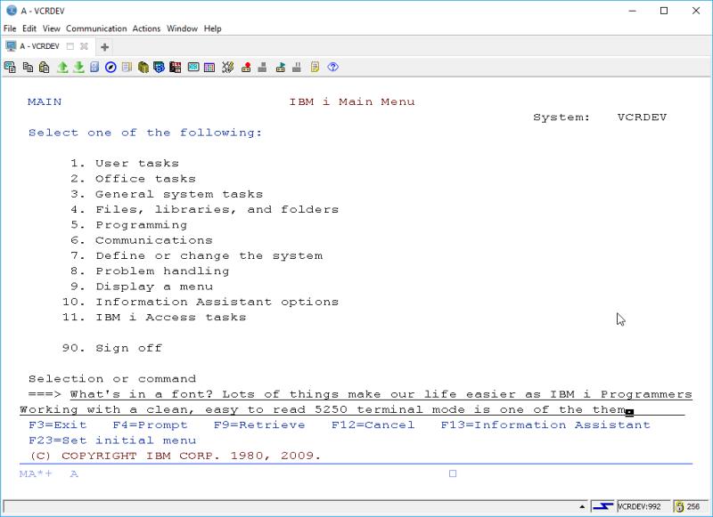 IBM i ACS 5250 EMULATOR FONT - and other ridiculous mumbo jumbo 2