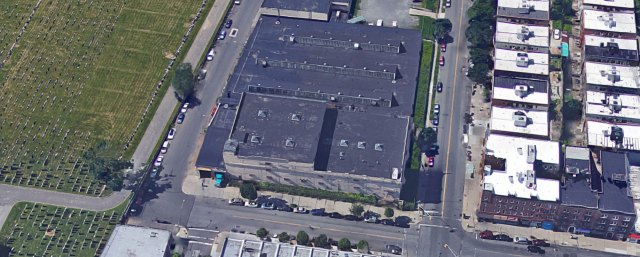Satellite view of the building ... next to a giant cemetery.