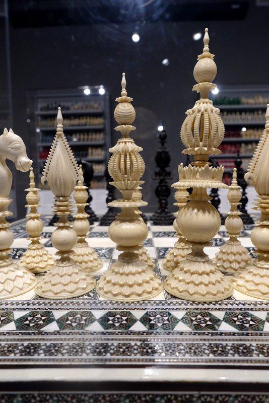 Indian Sadeli-work Chessboard, 1850, with Samuel Pepys Black and White Ivory Set, 1870