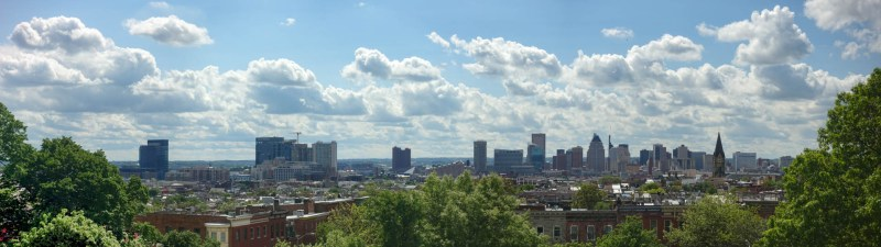A panorama of downtown can be caught.