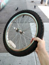 natch! good bicycle tire with wheel just found sitting on the street