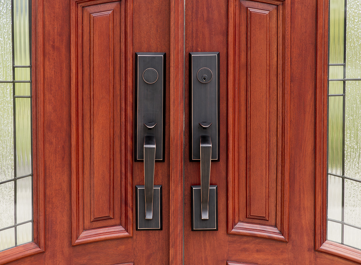 Mahogany Arched Top Double Doors With 3 Point Locks