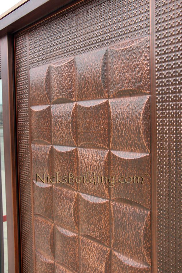 Copper Door With Sidelights Lattice Design