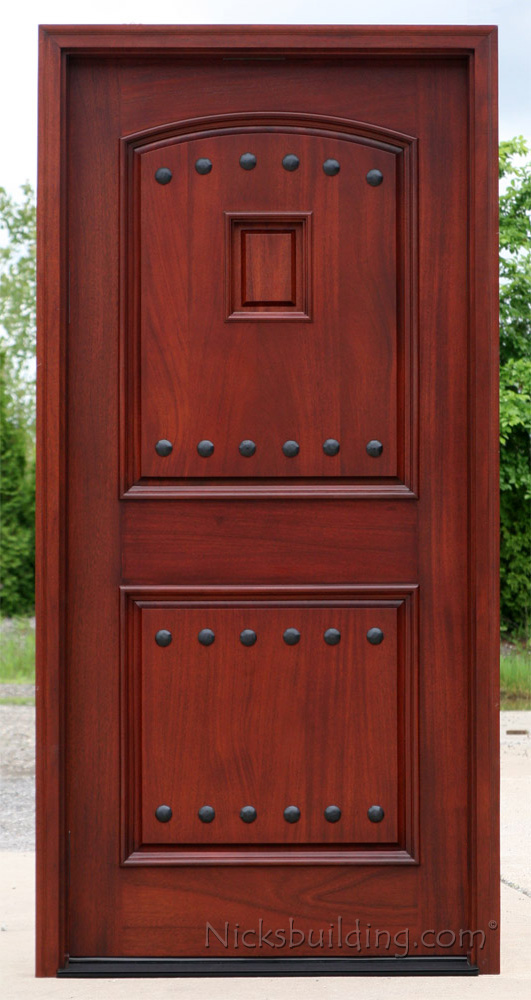 Exterior Mahogany Single Doors With Iron Nails And Grill