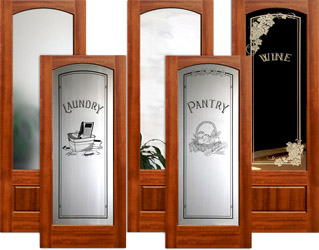 Interior Arched Glass Mahogany Doors with Etched Glass