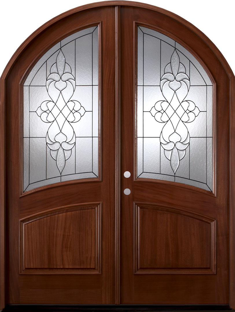 Brussels African Mahogany Arched Top Double Door
