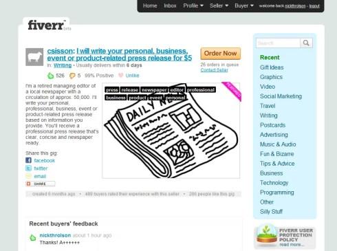 Successful Fiverr.com Purchases