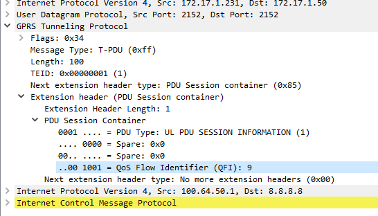 GTP Extension Headers (PDU session user plane protocol) in 5GC