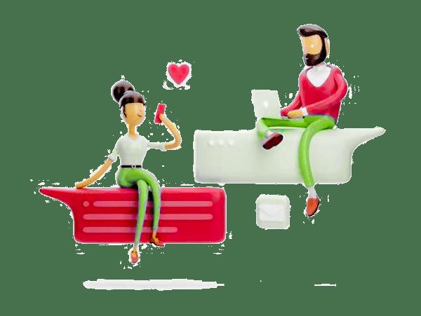 Cartoon Man and women with laptop