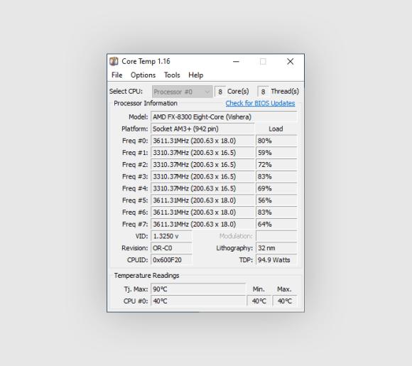 Core Temp screenshot