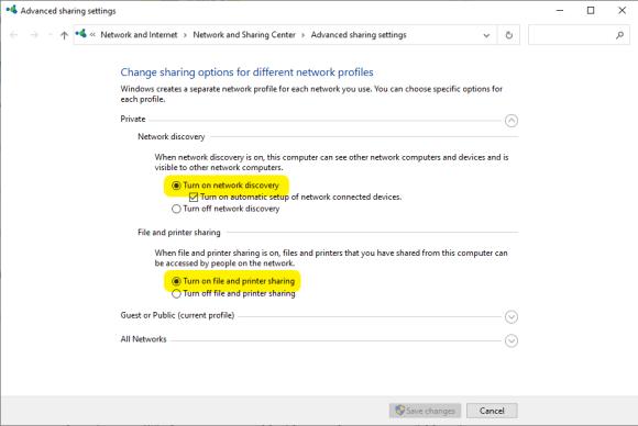 Windows 10 Advanced sharing settings