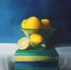 Lemons in a frosted glass bowl