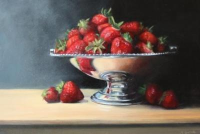 Strawberries in a silver dish