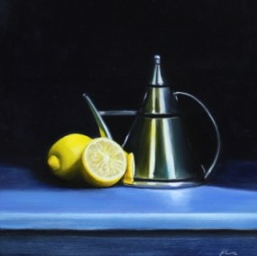 Lemons with an oil jug