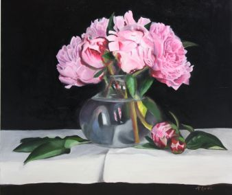 Peony in a glass vase