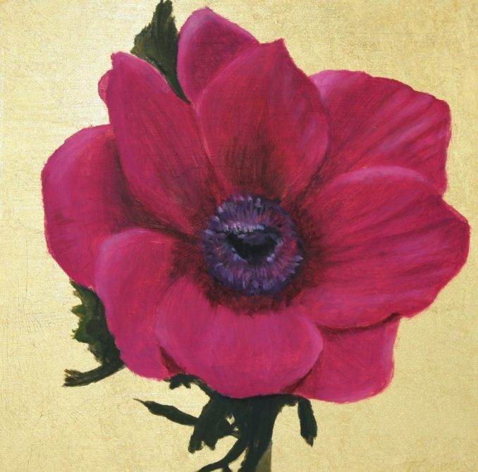 New small gold leaf painting – Magenta Anemone
