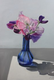 Sweet Peas in a blue glass vase
