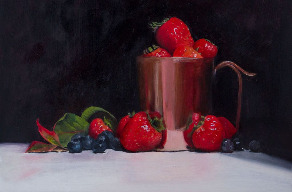 Lastest Painting – Strawberries and Blueberries with a Copper Pot