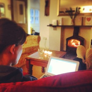 Blogging by the log burner in Whie House Cottage, Port Isaac