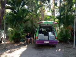 The camper van parked up at Flame Tree Tourist Park, Airlie Beach. A cool campsite on the East Coast of Australia
