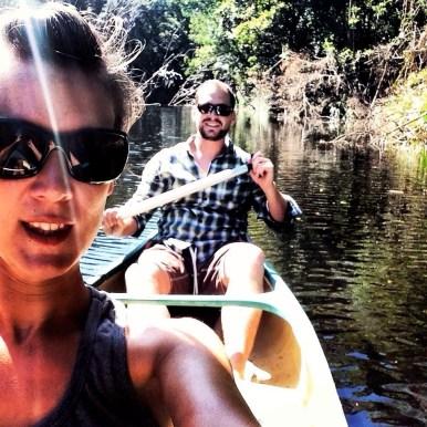 Kayaking selfie on the creek at Ferns Hideaway Resort, Australia