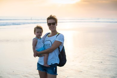 Emily and I on the beach at sunset in Canggu.