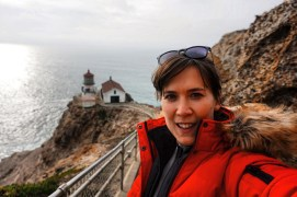 A selfie on the way down to Point Reyes Lighthouse