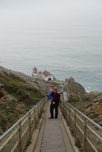 Climbing down the 308 steps to Point Reyes Lighthouse