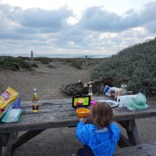 Dinner by the beach at Morro Strand State Beach Campground