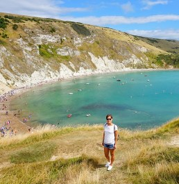 Admiring the view at Lulworth Cove in Dorset.