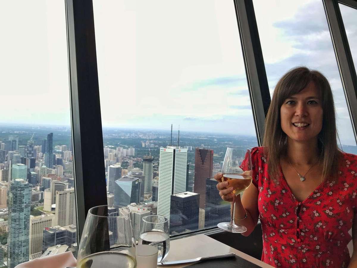 Having dinner at the 360 Restaurant, CN Tower, Toronto.