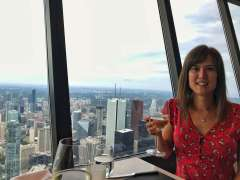Having dinner at the 360 Restaurant, CN Tower, Toronto.
