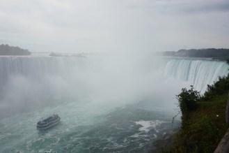 Looking down on a boat trip heading towards Niagara Falls, Canada