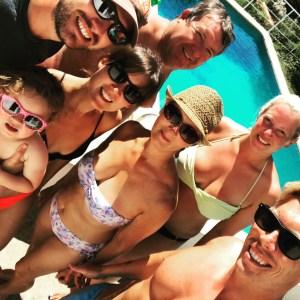 Family selfie on holiday in Punta Prima in Menorca.